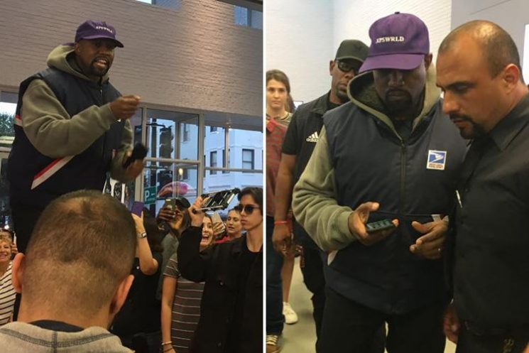 Kanye West jumps onto Apple Store table and rants about Donald Trump in bizarre video after White House meeting