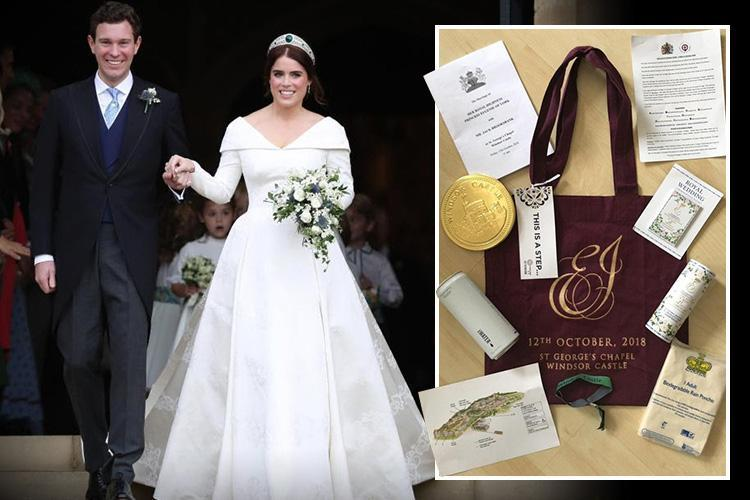 Princess Eugenie gives Royal wedding guests goodie bags featuring shortbread, a big chocolate coin and rain poncho
