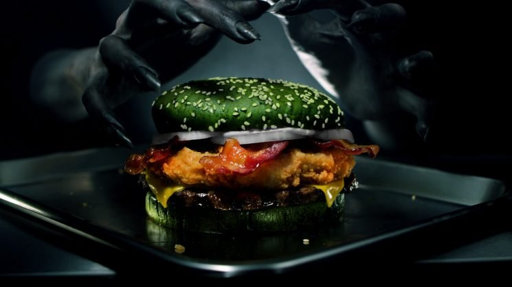 Burger King Debuts 'Nightmare' Burger with Fried Chicken, Beef, Bacon and a Green Bun