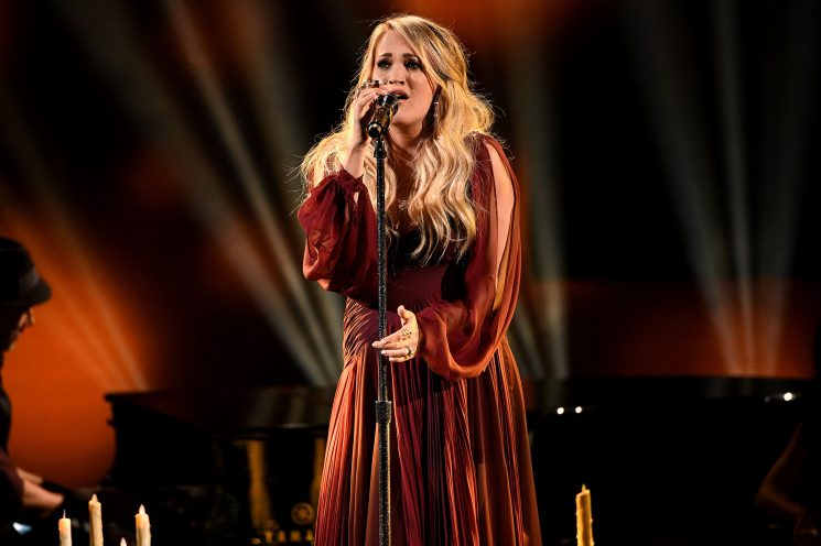 Expectant Carrie Underwood Performs Emotional New Song 'Spinning Bottles' at AMAs