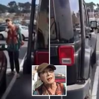 Bizarre moment female driver launches foul-mouthed rant over parking space and accuses man of having a 'small pecker'…but who's in the wrong?