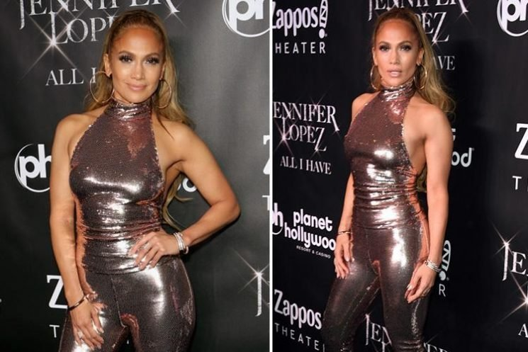 Jennifer Lopez shows off her enviable figure in skintight glitter catsuit