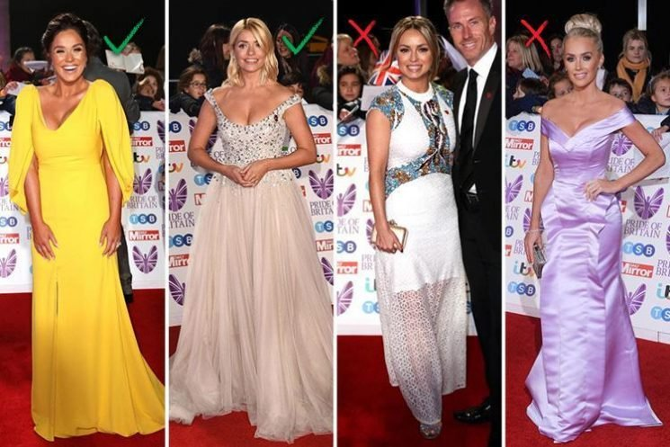 Holly Willoughby leads fashion hits on the Pride Of Britain Awards red carpet while Ola Jordan misses the mark