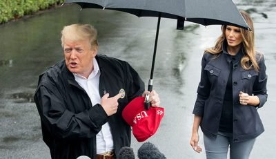 Trump Slammed For Hogging Umbrella While Melania Gets Soaked In The Rain On Florida Visit