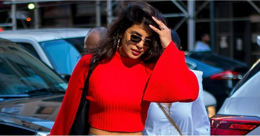 Priyanka Chopra Styled Her Fire-Hydrant-Red Crop Top With Mom Jeans, and Voila!