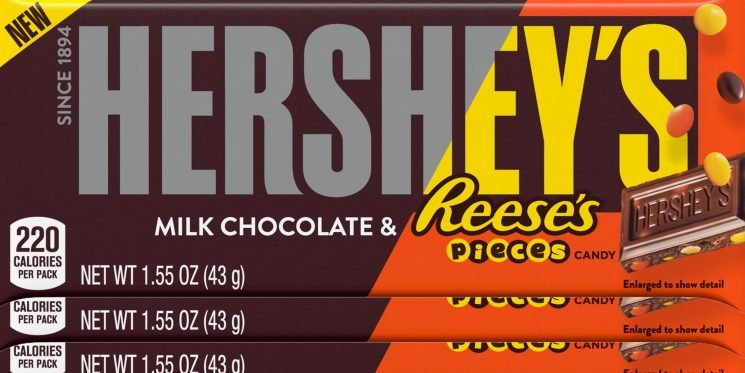 Hershey's New Chocolate Bar Is Filled with Reese's Pieces and Can Your Tastebuds Even Handle It?