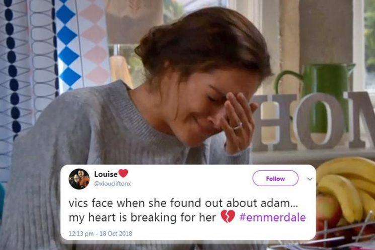 Emmerdale fans in tears as Victoria Sugden left heartbroken when she finds out husband Adam has got a new girlfriend