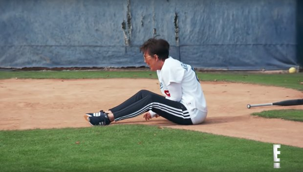 Kris Jenner Falls Over & Hurts Her Wrist After Kim Kardashian Throws Baseball At Her 'Head' In 'KUWTK' Clip – Watch
