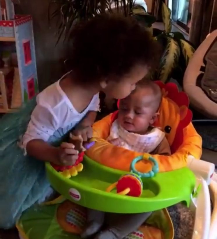 John Legend and Chrissy Teigen's Daughter Luna Gives Brother Miles a Kiss in Sweet Video
