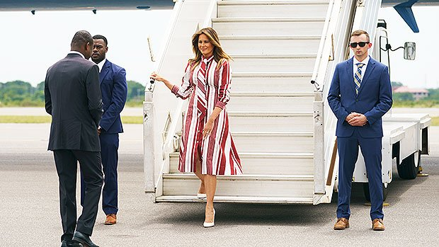 Melania Trump: $2,300 Celine Dress & Heels Landing In African Nations Donald Insulted — Pics