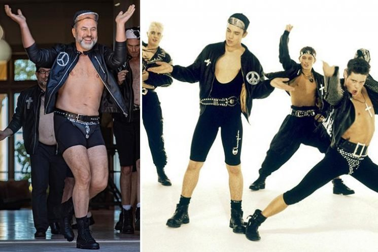 David Walliams looks happy in hotpants as he pokes fun at Robbie Williams and recreates Take That's famous Do What You Like video