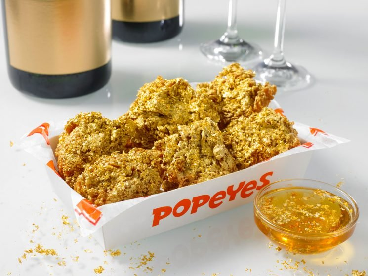 Popeyes Adds Champange-Battered, 24-Karat Gold Chicken Wings to Its Menu for One Day Only