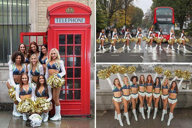 Los Angeles Chargers cheerleaders brighten up grey, drizzly London ahead of Tennessee Titans game at Wembley