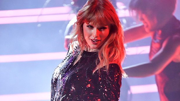 Taylor Swift Slays In Sparkly Red & Black Bodysuit For Killer 'I Did Something Bad' AMAs Performance