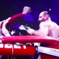 Pro boxer throws punches at his own cornerman
