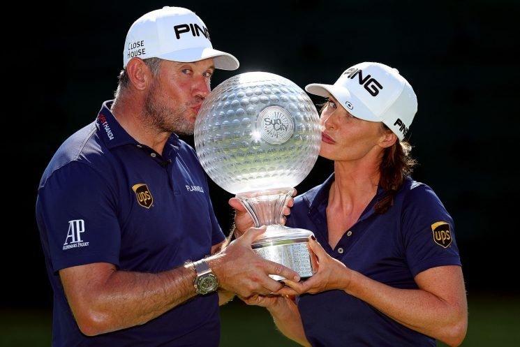 Caddie girlfriend steals the show after golfer's tournament win