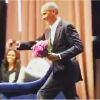 Barack Obama Surprised Michelle With Roses on Her Book Tour — and Yes, the Crowd Went Wild