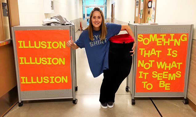Teacher's cut-in-half illusion costume baffles the internet