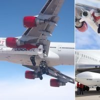 We have lift-off! Virgin's Atlantic's 'Cosmic Girl' takes to the skies