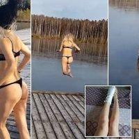 Quite an ice breaker! Girl fractures ankle leaping into FROZEN lake