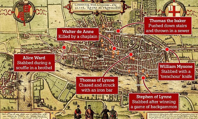 Murder map of medieval London's meanest streets reveals grisly deaths