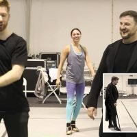 Strictly's Neil and Katya Jones reunite on the dancefloor to teach Boyzone to dance for Children In Need sketch