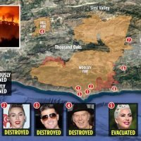 Celebrities' mansions destroyed and Simon Cowell's under threat as 'Devil winds' make California's deadliest wildfires IMPOSSIBLE to stop