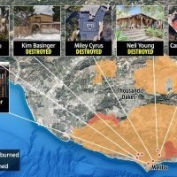 California wildfire map reveals celeb homes destroyed by inferno including Miley Cyrus, Gerard Butler and Neil Young