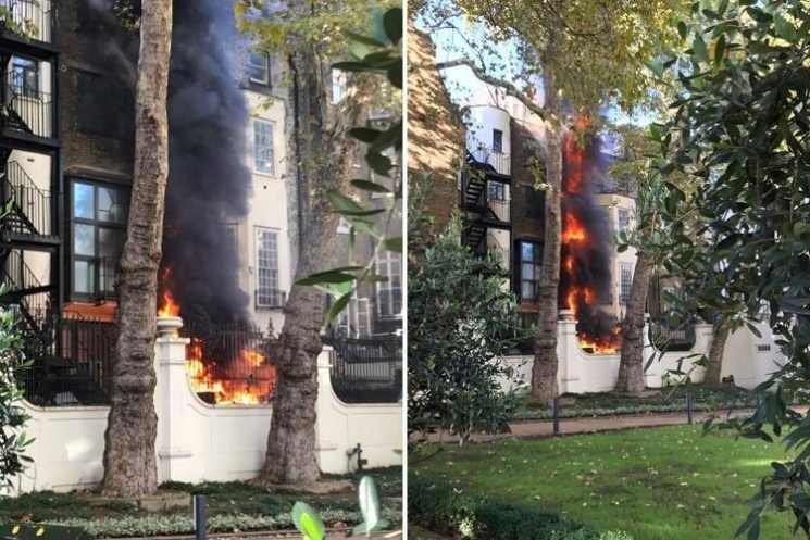 Huge fire breaks out in building next to Saudi Embassy in London