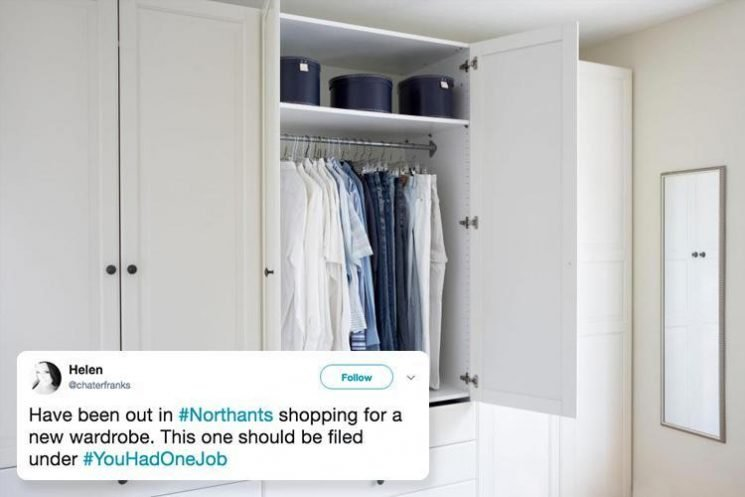 Woman goes wardrobe shopping… and comes across one with a VERY awkward defect