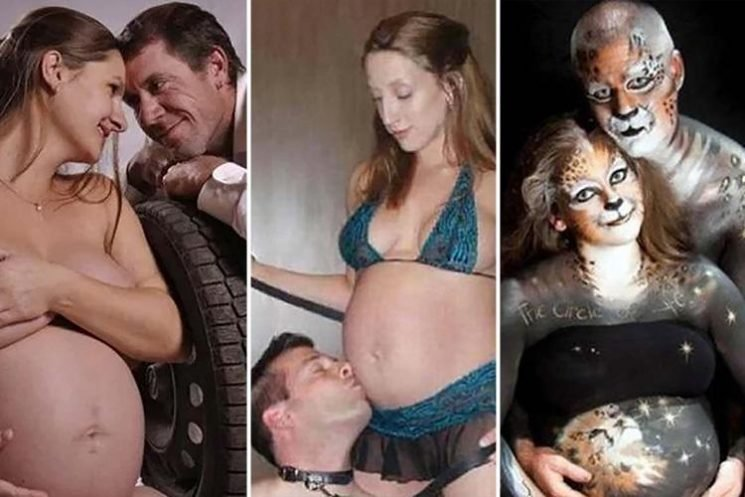 Parents-to-be share bizarre pregnancy shoots… including a mum with a whip