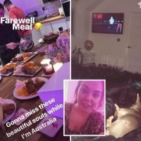 Inside Scarlett Moffatt's last night in the UK with roast dinner, bubbly and cuddles from her dog before she heads to Oz for I'm A Celeb