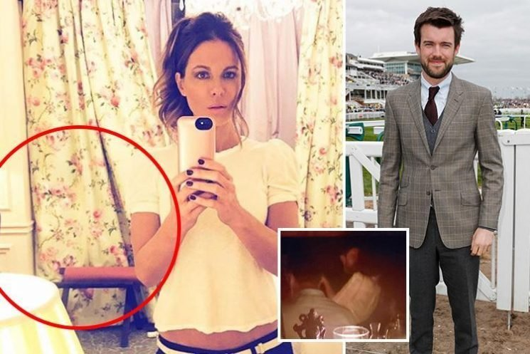 Kate Beckinsale jokes 'don't f**k with me' as fans spot 'Jack Whitehall' hiding behind her curtain after romance is revealed