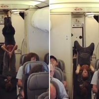 Plane passengers shamed after performing yoga at the back of the cabin in bizarre display
