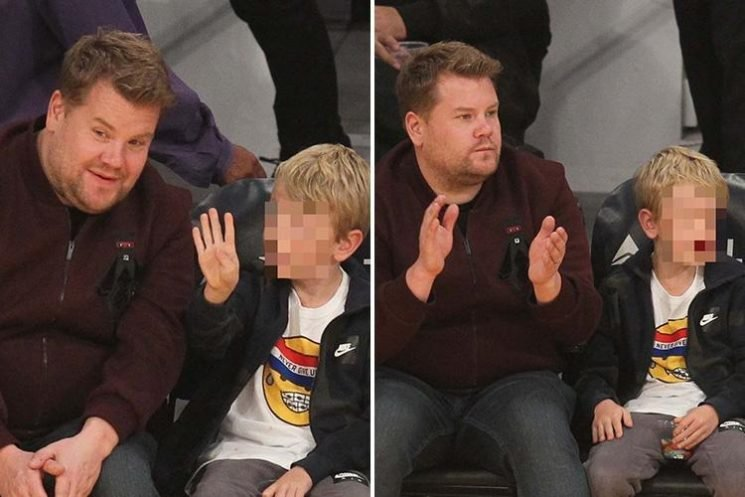 James Corden plays with son Max courtside as they watch the LA Lakers