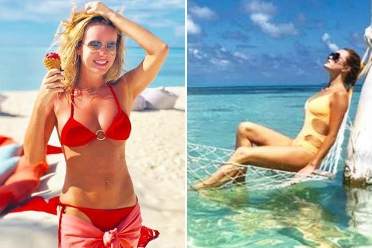 Amanda Holden looks incredible in red bikini as she eats ice cream on the beach in the Maldives