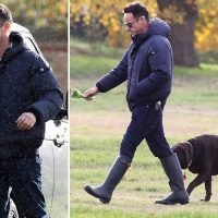 Ant McPartlin laughs as he walks dog Hurley in West London after its revealed he'll battle Lisa Armstrong for custody of the pet