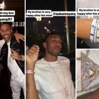 Arsenal star Pierre-Emerick Aubameyang eats at Salt Bae's posh Dubai restaurant wearing £65,000 wrist of bling