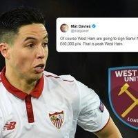 West Ham mocked as Samir Nasri undergoes medical despite £80,000-a-week salary demands