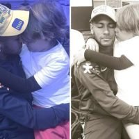 Neymar hugs son Davi Lucca in special Brazil cap to mark 100 call-ups for his country