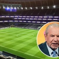 Spurs' new stadium christened by Lord Sugar who's first to take a PEE in director's lounge – as picture shows it looking incredible at night
