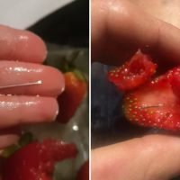 Woman arrested over strawberry contamination after sewing NEEDLES 'deliberately' hidden in supermarket fruit
