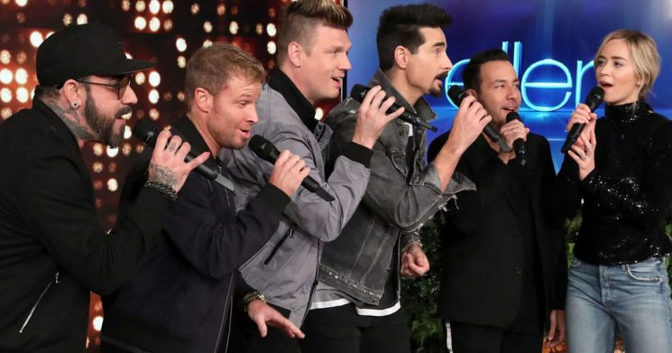 Emily Blunt Gets Over Stage Fright by Performing with Backstreet Boys Backup Singers on 'Ellen'