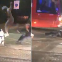 Shocking moment Croydon thug flying kicks female cop sending her into the path of an oncoming bus