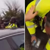 Traffic warden suffers broken eye socket after he was beaten up in a row over parking outside a primary school