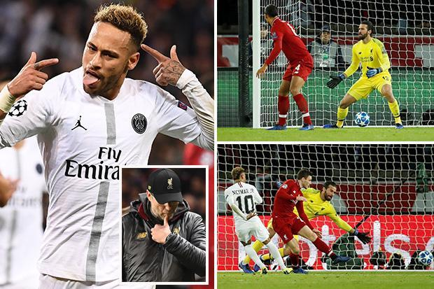 PSG 2 Liverpool 1: Neymar and Juan Bernat strikes leave Reds in danger of early Champions League exit