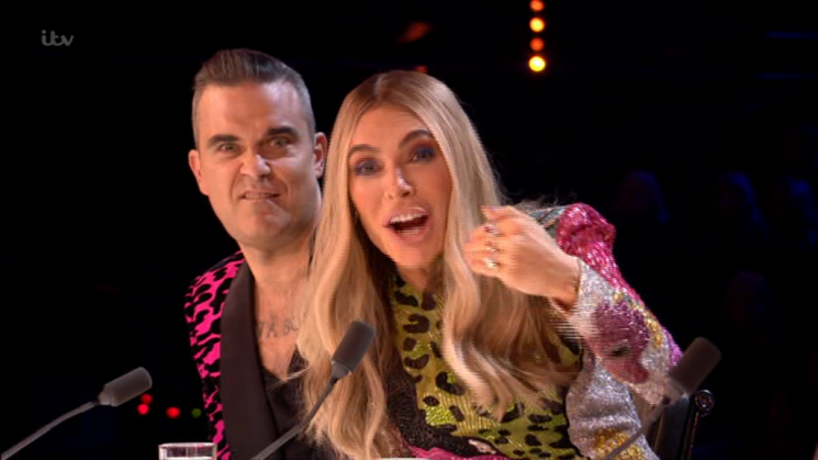 X Factor fans in hysterics as Robbie Williams and Ayda Field mock Simon Cowell's 'face lifts' and 'tight shirts'