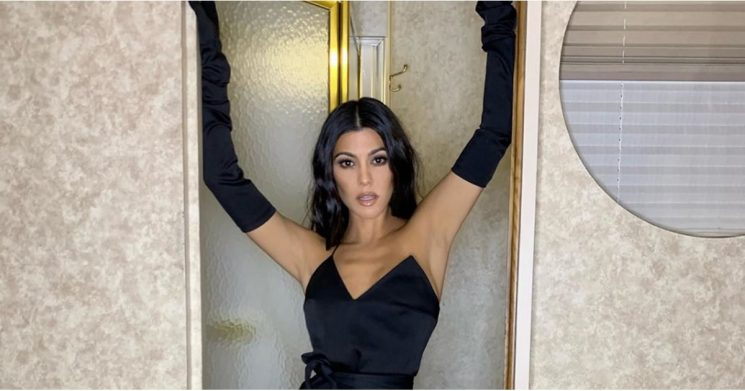 Kourtney Kardashian's Sexy Little Holiday Dress Comes With Gloves, and That Just Heats Things Up