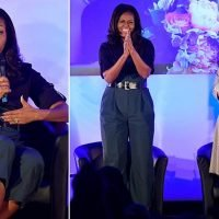 Michelle Obama visits London schoolgirls she first met nine years ago