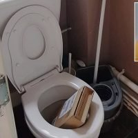 Driver throws parcel through mother's window and it falls into the loo